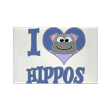 I Love (Heart) Hippos Rectangle Magnet