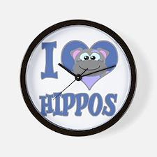 I Love (Heart) Hippos Wall Clock
