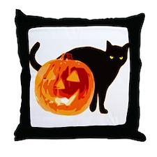 HALLOWEEN BLACK CAT AND PUMPKIN Throw Pillow