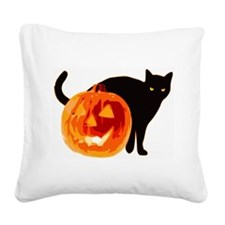 HALLOWEEN BLACK CAT AND PUMPKIN Square Canvas Pill