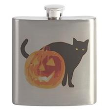 HALLOWEEN BLACK CAT AND PUMPKIN Flask