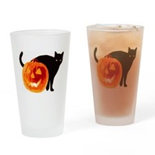 HALLOWEEN BLACK CAT AND PUMPKIN Drinking Glass
