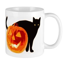 HALLOWEEN BLACK CAT AND PUMPKIN Mugs