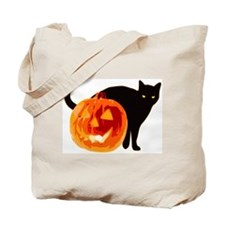 HALLOWEEN BLACK CAT AND PUMPKIN Tote Bag