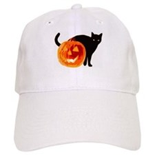 HALLOWEEN BLACK CAT AND PUMPKIN Baseball Baseball Cap