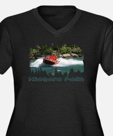 Niagara Jet Boat Women's Plus Size V-Neck Dark T-S