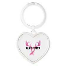Southern Laced Breast Cancer Awaren Heart Keychain
