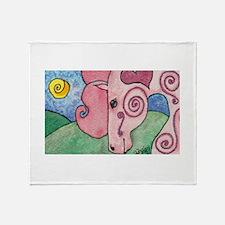 Funny Gypsy vanner horses Throw Blanket
