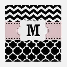 Black Pink Chevron Quatrefoil Monogram Tile Coaste
