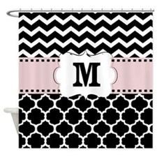 Black Pink Chevron Quatrefoil Monogram Shower Curt