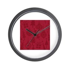Red Christmas Holiday Pattern With Orna Wall Clock