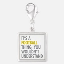 Its A Football Thing Silver Square Charm