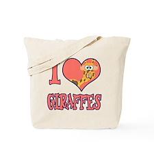 I Love (Heart) Giraffes Tote Bag