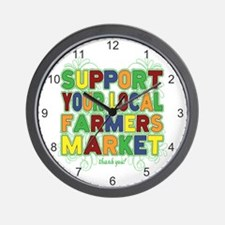 Support Your Local Farmers Market Wall Clock