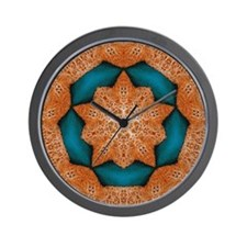 Orange Starfish on Blue Background 1 Wall Clock