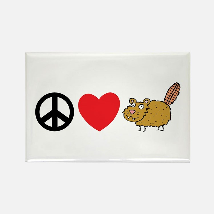 Peace Love & Beaver Rectangle Magnet