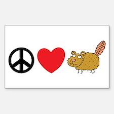 Peace Love & Beaver Rectangle Bumper Stickers