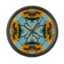 Sunflower Kaleidoscope Mandala Large Wall Clock