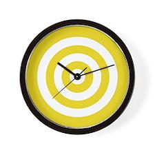 Yellow White Bullseye Tablecloth Wall Clock