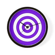 Purple White Bullseye Tablecloth Wall Clock