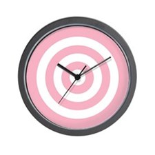 Pink White Bullseye Tablecloth Wall Clock