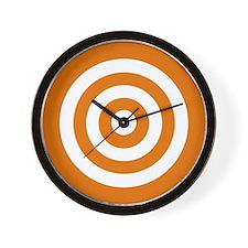 Orange White Bullseye Tablecloth Wall Clock
