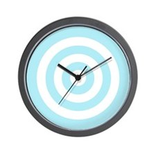 Light Blue White Bullseye Tablecloth Wall Clock