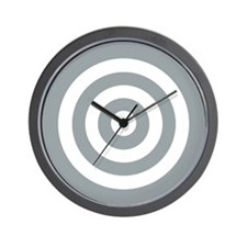 Grey White Bullseye Tablecloth Wall Clock
