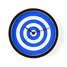 Blue White Bullseye Tablecloth Wall Clock