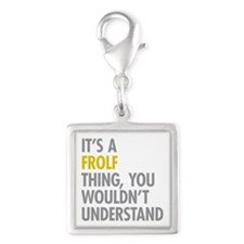 Its A Frolf Thing Silver Square Charm