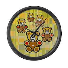 Five Happy Bears Large Wall Clock