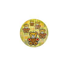 Five Happy Bears Mini Button