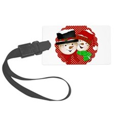 Snowmen Couple On Red Luggage Tag