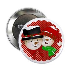 "Snowmen Couple On Red 2.25"" Button (100 Pack)"
