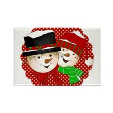 Snowmen Couple on Red Rectangle Magnet (100 pack)