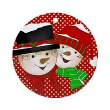 Snowmen Couple On Red Ornament (round)