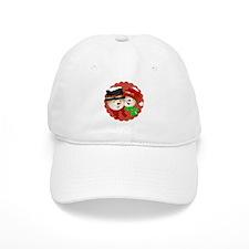 Snowmen Couple on Red Baseball Cap