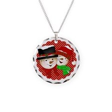 Snowmen Couple On Red Necklace