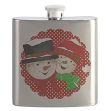 Snowmen Couple on Red Flask