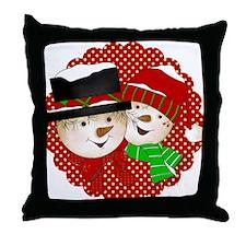 Snowmen Couple on Red Throw Pillow