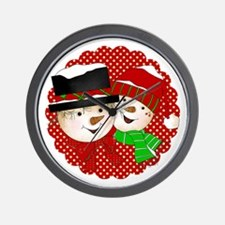 Snowmen Couple On Red Wall Clock