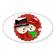 Snowmen Couple On Red Sticker (oval 10 Pk)