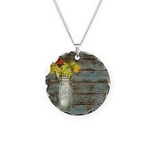 mason jar floral barn wood w Necklace
