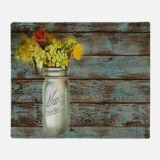 mason jar floral barn wood western c Throw Blanket