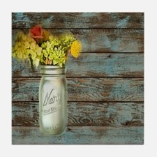 mason jar floral barn wood western co Tile Coaster