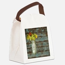 mason jar floral barn wood wester Canvas Lunch Bag