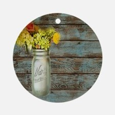 mason jar floral barn wood western  Round Ornament