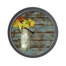 mason jar floral barn wood western coun Wall Clock