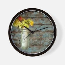 mason jar floral barn wood western coun Wall Clock