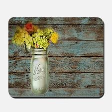 mason jar floral barn wood western count Mousepad